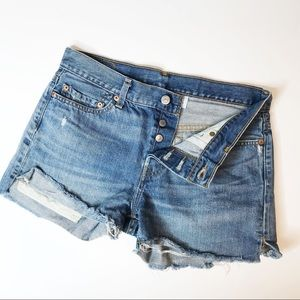 Levi's Button Fly 501 Distressed Denim Shorts